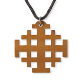 Wood Cut Out Jerusalem Cross Pendant