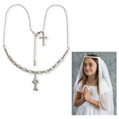 First Communion Pearl/Pink Crystal necklace