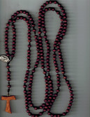 20 decade wooden bead and cord rosary with Tau cross and Saint Francis and Saint Anthony Medal