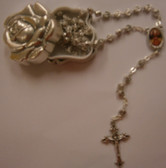 Silver Oxidized Rosebud Rosary