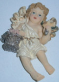 Cherub Angel Magnet With Flowers
