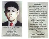 Saint Jose' Luis Sanchez del Rio Prayer Card
