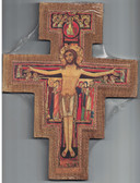 San Damiano Wall Crucifix Gold Boarder 10 Inches