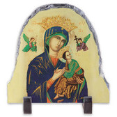 Our Lady of Perpetual Help Arched Tile - Yellow Background