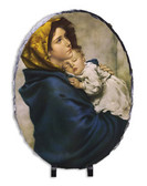 Madonna of the Streets Oval Slate Tile