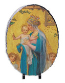 Madonna and Child by Enric M. Vidal Oval Slate Tile