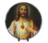 Italian Sacred Heart of Jesus Round Slate Tile