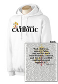 Rock Solid Catholic White Hoodie