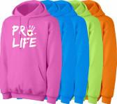 Pro-Life with Handprint Neon Hoodie