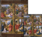 Four Scenes from the Passion by Follower of Bernard van Orley Rustic Wood Plaque