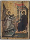 Annunciation Rustic Wood Byzantine Icon Plaque