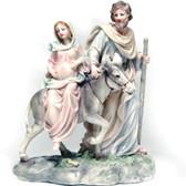 Pregnant Holy Family with pregnant Mary, Saint Joseph, donkey on way to Bethlehem