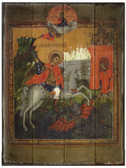 St. George Rustic Wood Russian Icon Plaque
