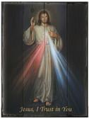 Divine Mercy Rustic Wood Plaque