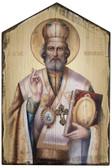 St. Nicholas Rustic Wood Icon Plaque