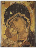 Our Lady of Vladimir Icon Rustic Wood Plaque