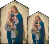 Madonna and Child by Franz Ittenbach Rustic Wood Icon Plaque