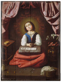 The Young Virgin by Francisco de Zurbarán Rustic Wood Plaque