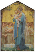 Madonna and Child by Enric M. Vidal Rustic Wood Plaque