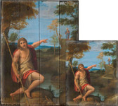 Saint John the Baptist Bearing Witness by Annibale Carracci Rustic Wood Plaque
