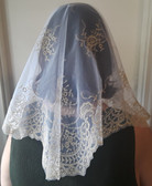 White/Gold Abanico Spanish Veil