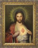 Polish Sacred Heart - Ornate Gold Framed Art