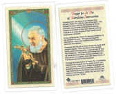 Prayer For St. Pio Of Pietrelcina Intercession Laminated Prayer Card