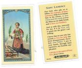 St. Laurence Laminated Prayer Card