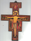 San Damiano Wall Crucifix With Shiny Gold Border