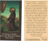 St. Francis Of Assisi Sharer In The Wounds Of Christ, Pray For Us Prayer Card