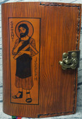 Saint Joseph Hand Crafted Leather Breviary Cover --  Cinnamon color