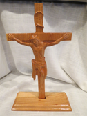 Unique Hand Crafted Solid Oak Crucifix with Stand
