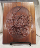 "Unique 9.5""x13"" Hand Crafted Nativity Scene in solid Walnut"