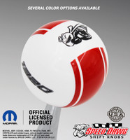 White knob with Red stripes and Black graphics