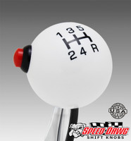 Pro White / Black 5 Speed Shift Knob with Line Lock / NOS Button