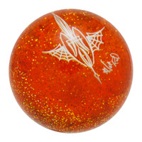 Transparent Orange Metalflake Pinstriped Spider Web Shift Knob by Von Hot Rod
