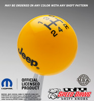 Yellow Jeep Logo Shift Knob With Black Graphics