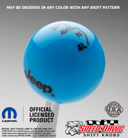 Grabber Blue Jeep Logo Shift Knob With Black Graphics