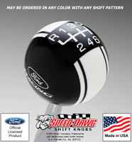 Ford Racing Logo Racing Stripe Shift Knob Black with White Graphics