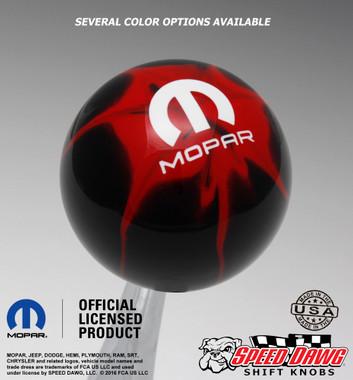 Mopar Logo Black Red Splash Shift Knob