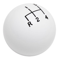 White 4 Speed Reverse Lower Left Shift Knob with Engraved Shift Pattern