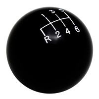 Black 6 Speed Reverse Lower Left Shift Knob with Engraved Shift Pattern