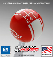 Chevy Bow Tie Logo Racing Stripe Shift Knob