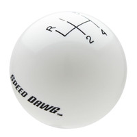 White Shift Knob with Engraved Shift Pattern & Speed Dawg Logos
