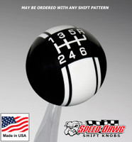 Black / White Racing Stripe Shift Knob