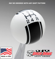 White / Black Racing Stripe Shift Knob