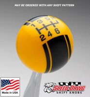 Yellow / Black Racing Stripe Shift Knob