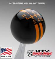 Black / Grabber Orange Rally Stripe Shift Knob