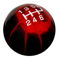 Black Red Splash Pro Series Shift Knob with White Inlaid Shift Pattern