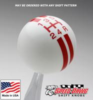 White / Red Rally Stripe Shift Knob